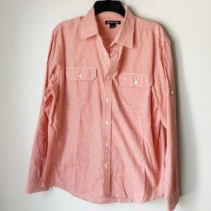 Michael Kors Orange and White Button Down Shirt